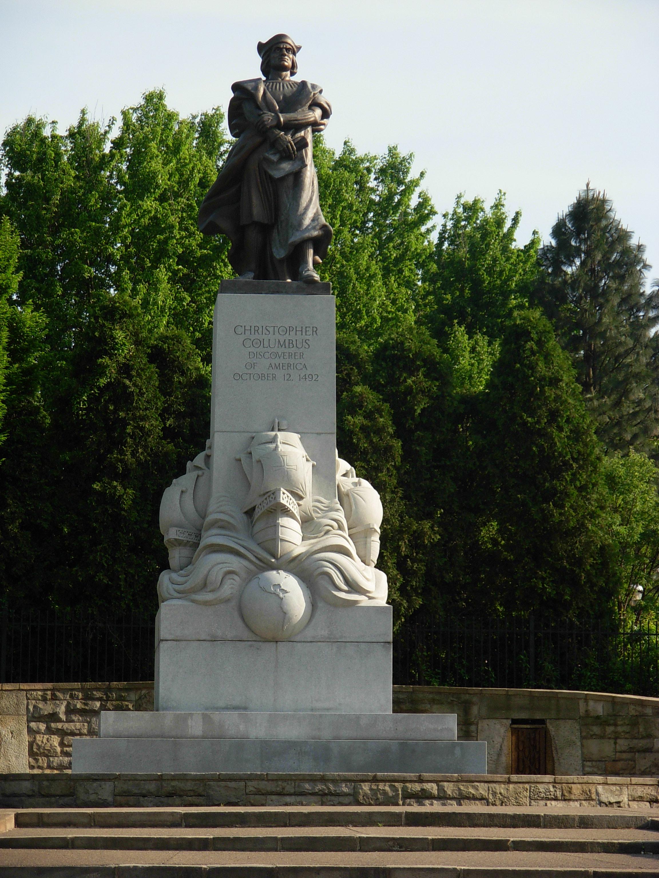 file christopher columbus monument in schenley park 2 jpg