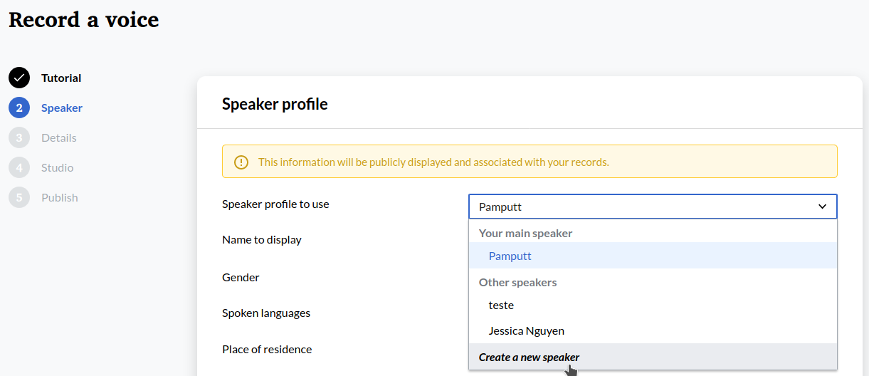 Screenshot of the dialogue box to create a speaker on Lingua Libre