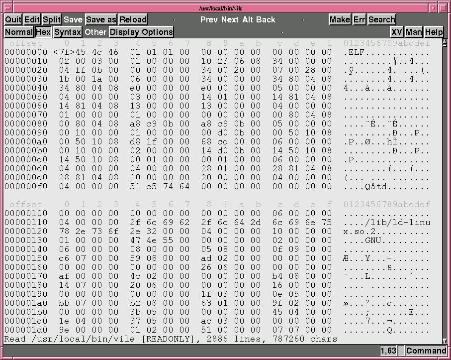 Modo de edición hexadecimal en Elvis