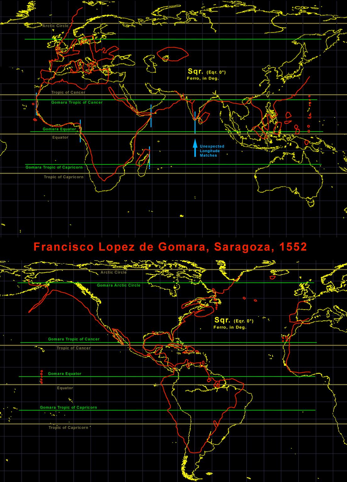 Comparación del mapamundi de López de Gómara con un mapa actual en proyección cilíndrica. Autor: Portolanero.