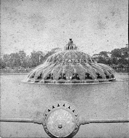 Gaslit outdoors fountain at Grand Army Plaza (Brooklyn, New York, 1873-1897) Grand Army Plaza Fountain 1874.png