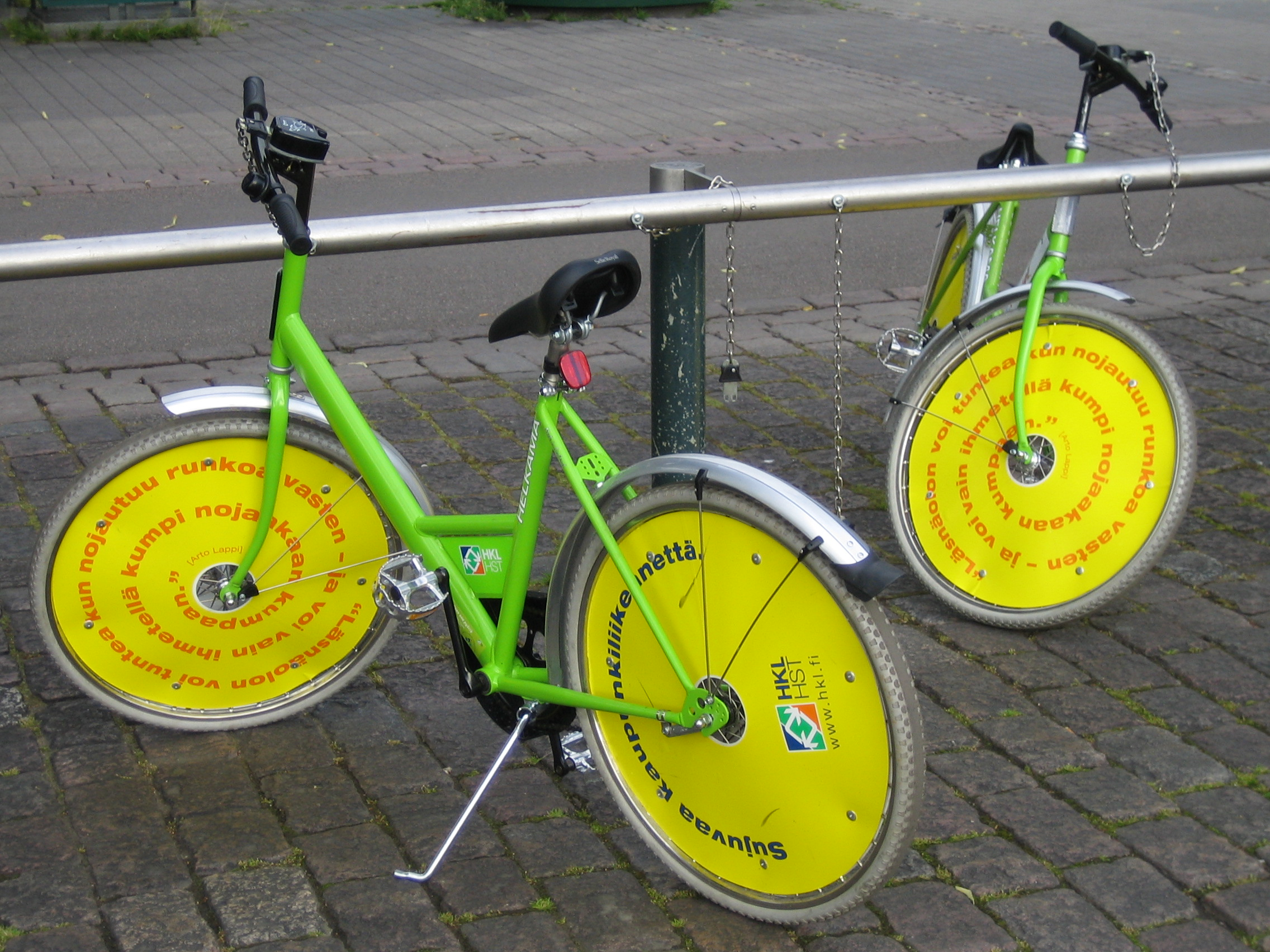 In Helsinki you cant miss the neon green and yellow