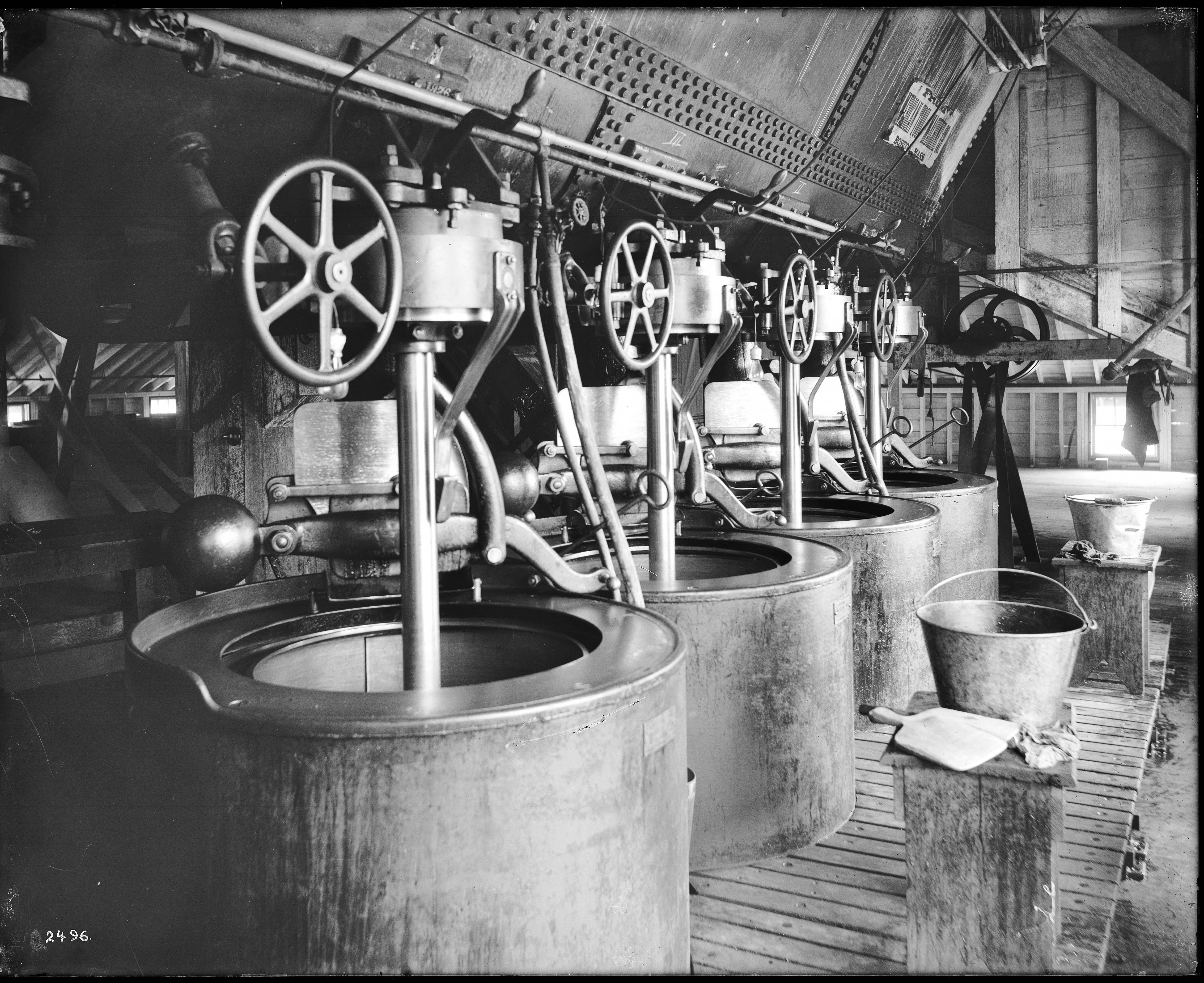File:Interior of a beet sugar factory showing centrifuges (CHS-2496).