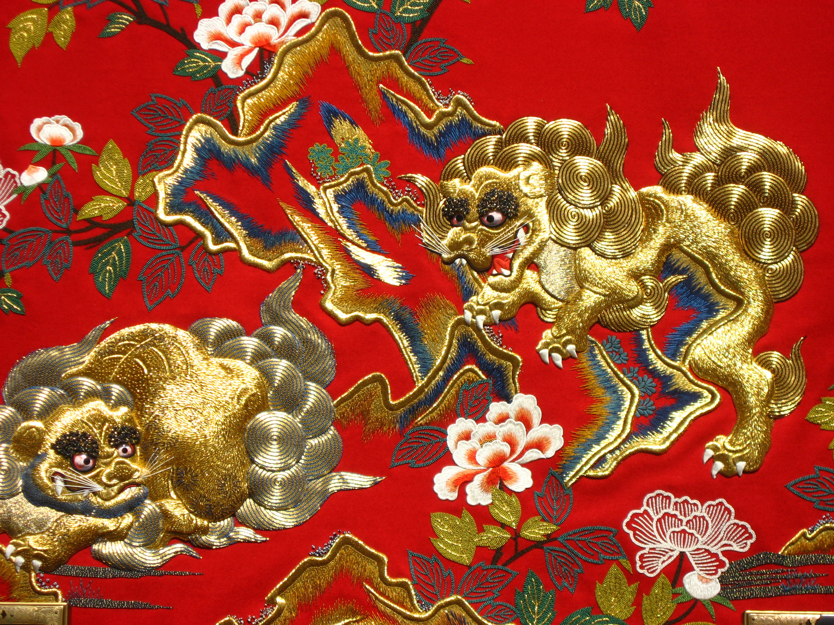 Vintage Silk Embroidered Bed Cover