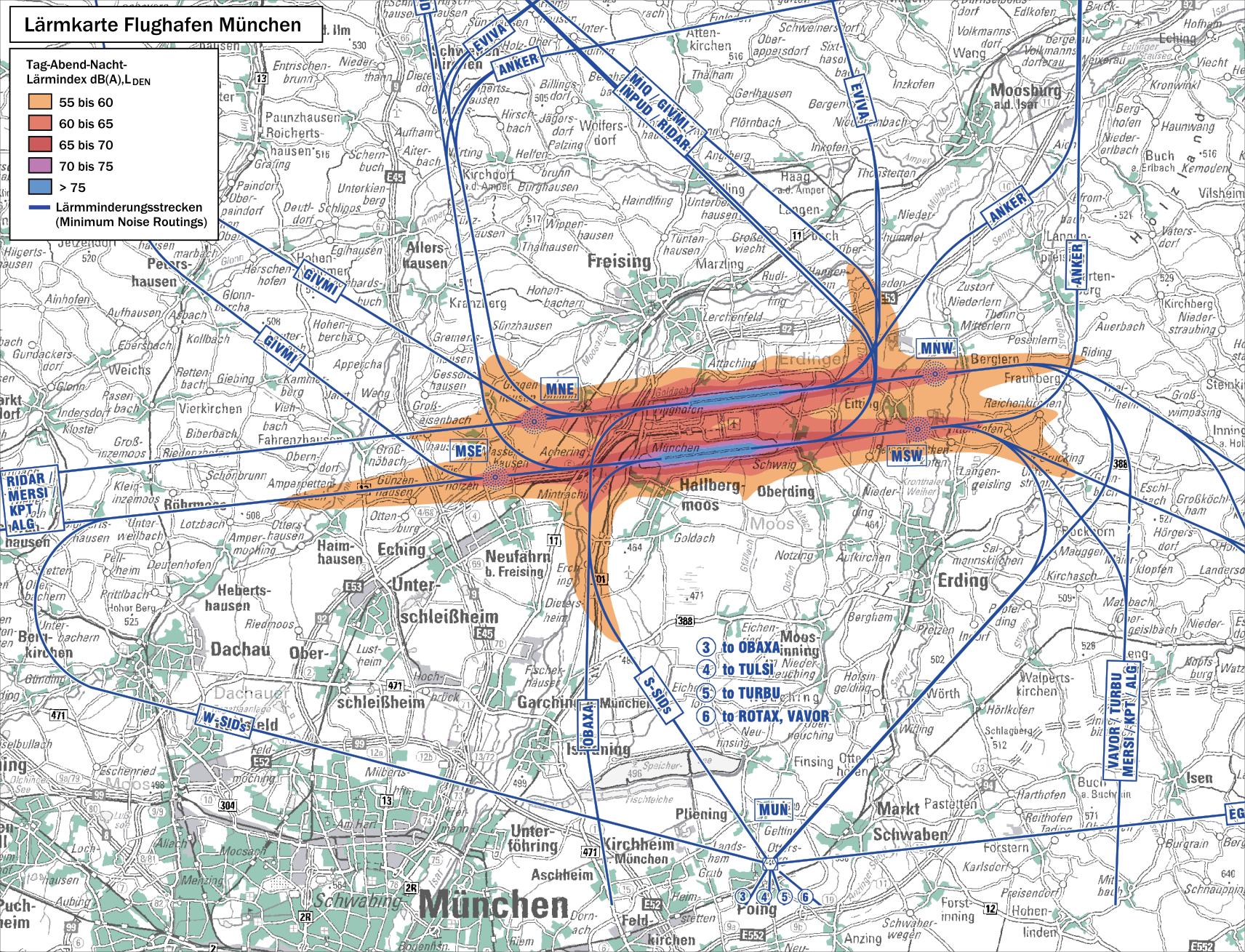 Lärmkarte des Flughafens München mit den Abflugrouten Lärmminderungsrouten
