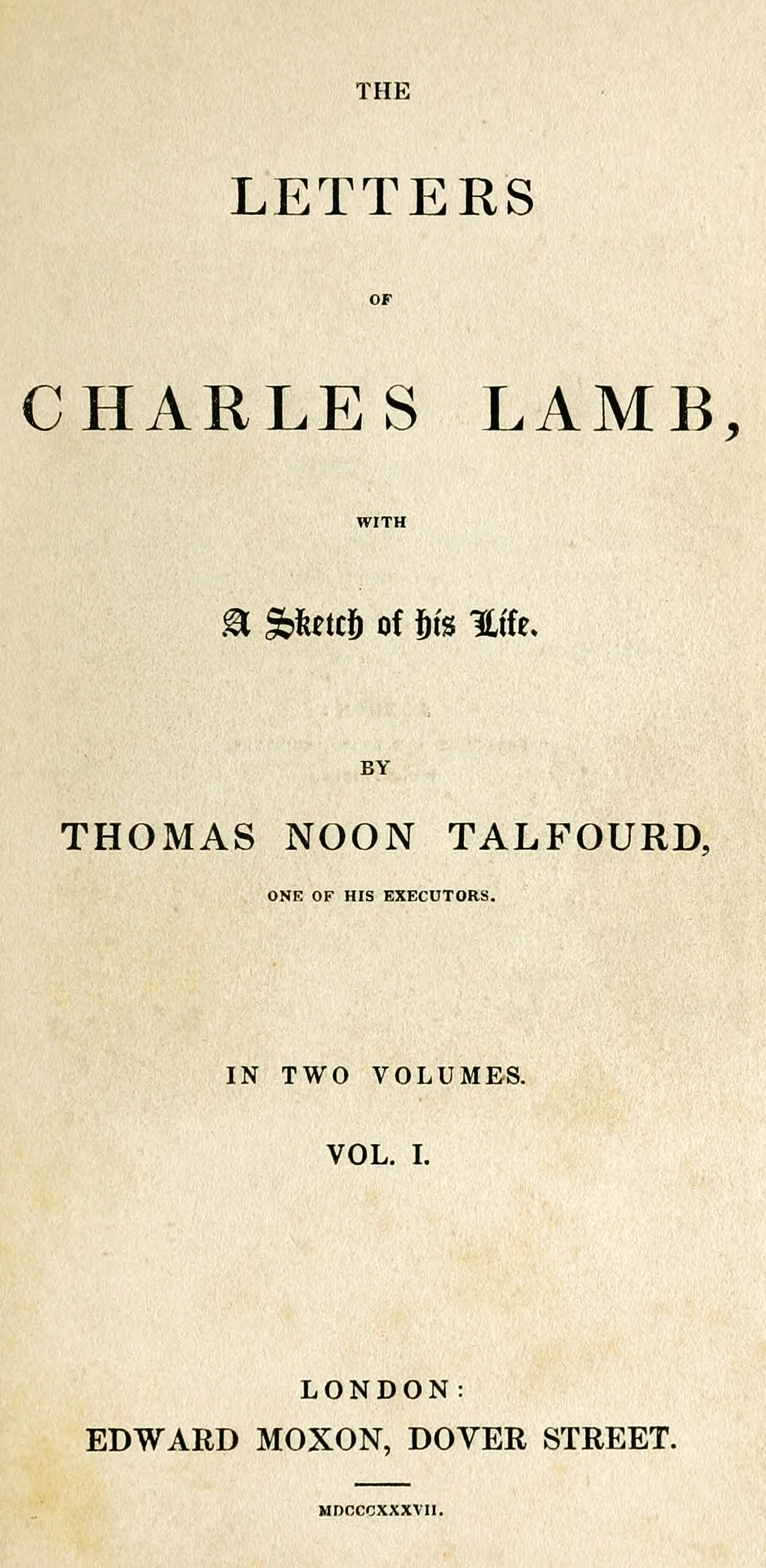 Letters Of Charles Lamb  Wikipedia