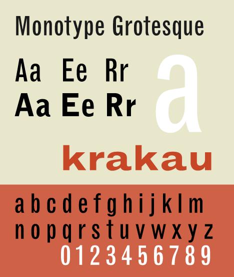 Monotype Grotesque, a grotesque lineal typeface