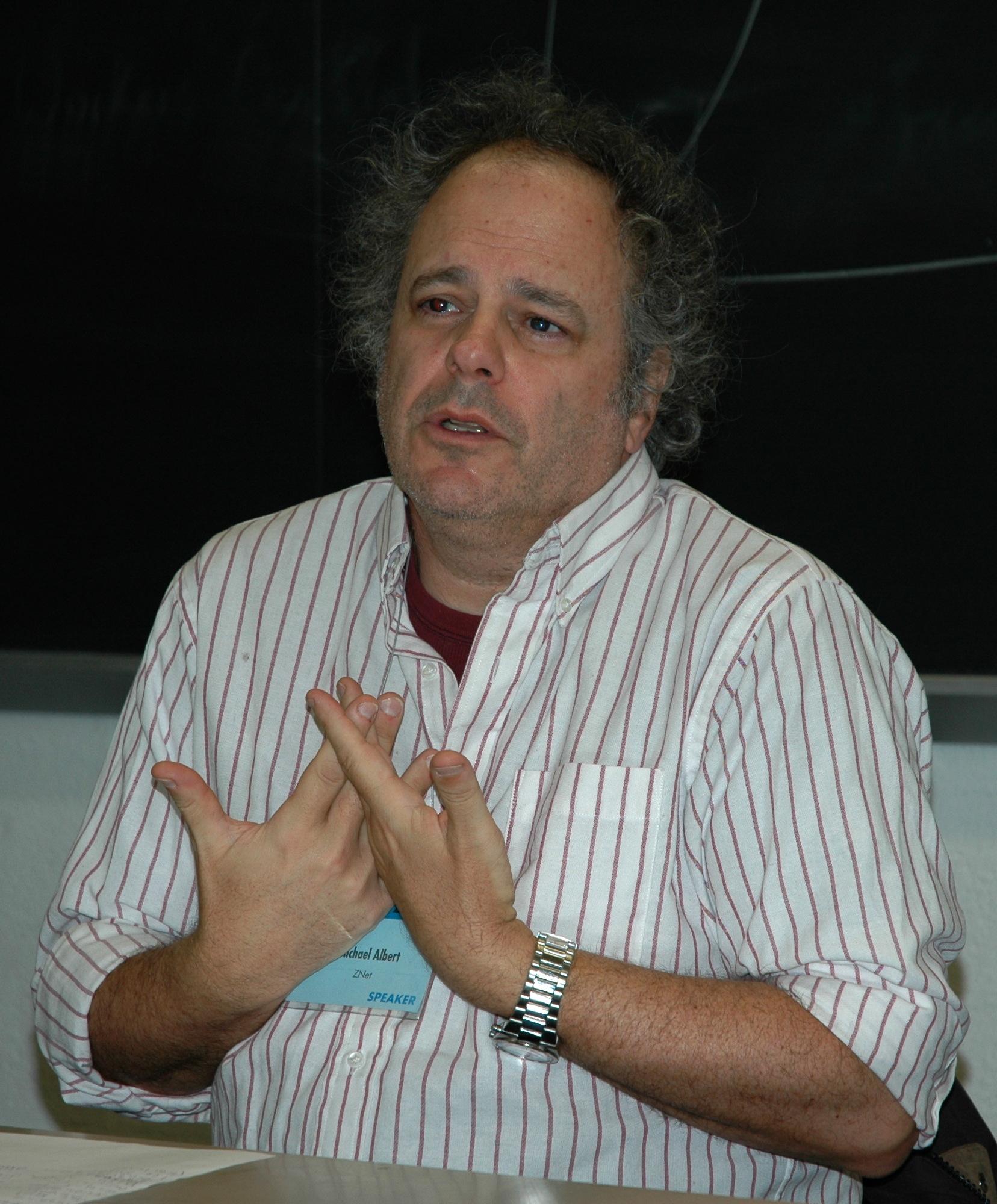 Michael Albert speaking at New York's annual Left Forum, 2007.