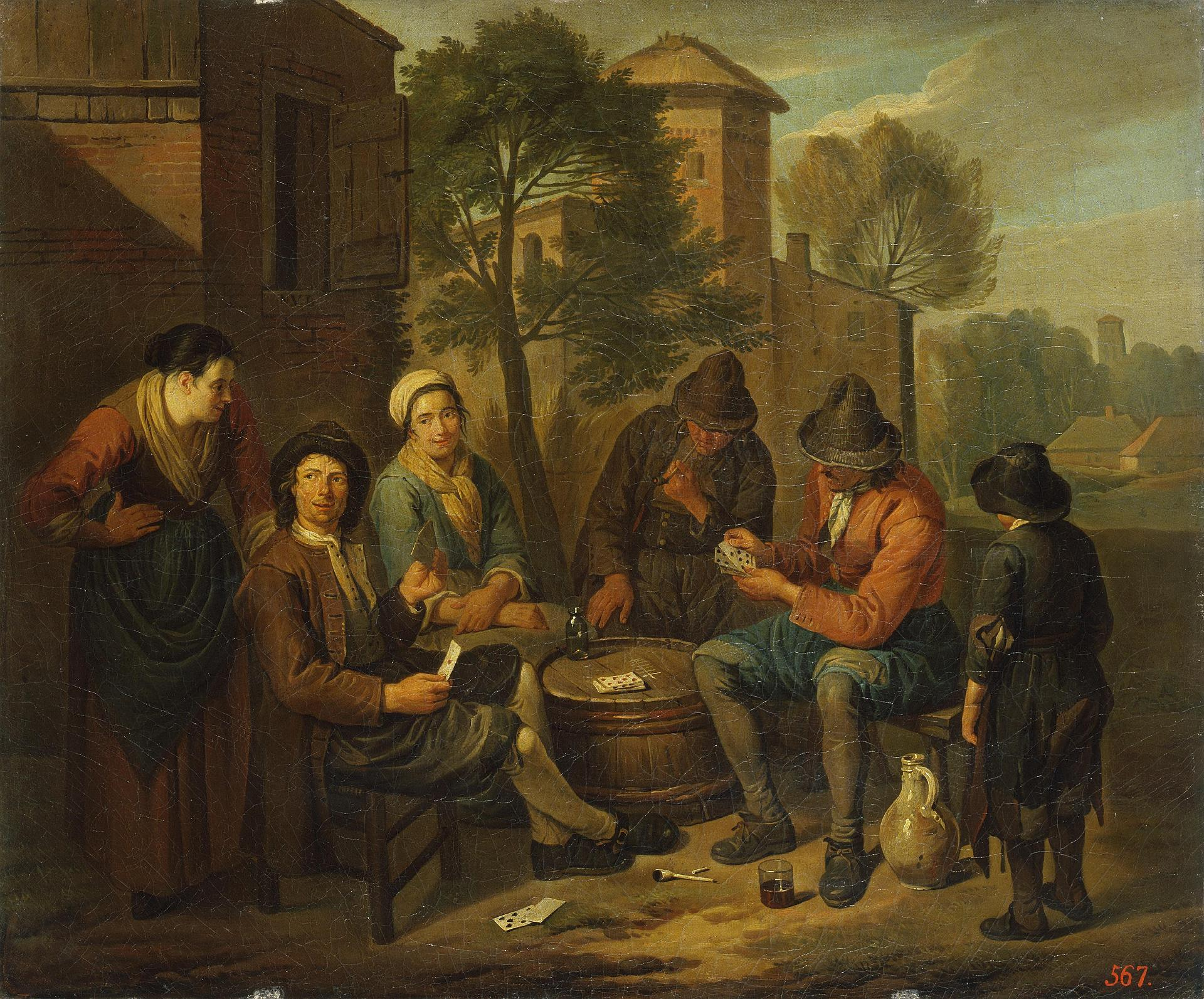 Peasants playing cards on a barrel