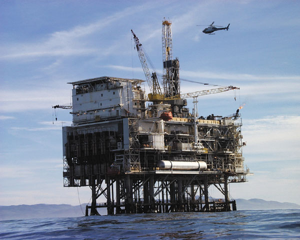 Oil Drilling Rig at Sea