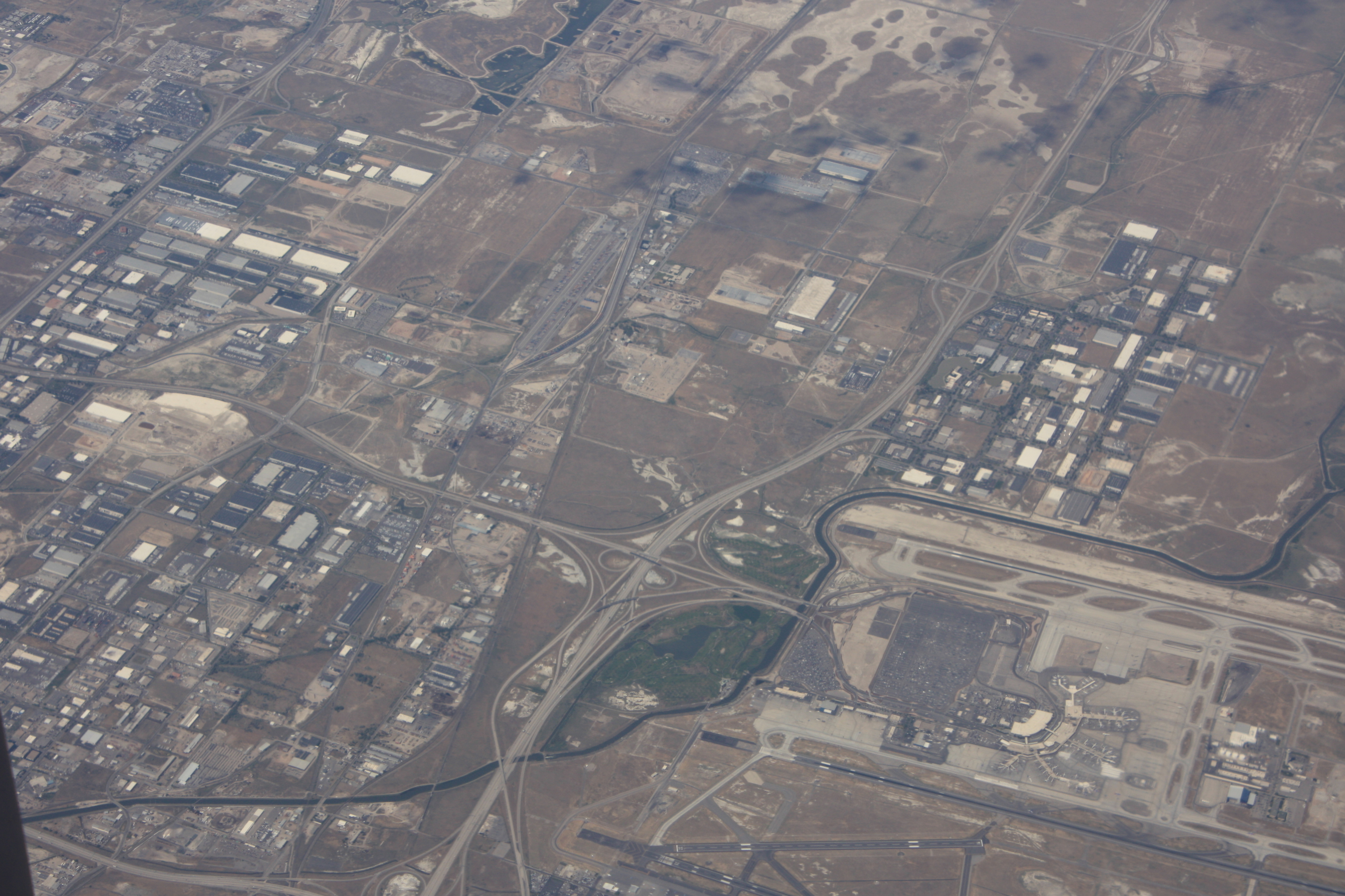 An aerial view of Salt Lake International Airport and Wingpointe.
