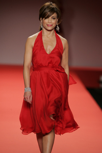 Paula Abdul in red dress. For the National Hea...