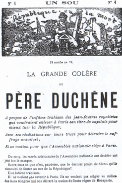 "1871 issue of Père Duchêne: No. 4. One cent.  ""Republic or Death! The Great Anger of Père Duchêne"""