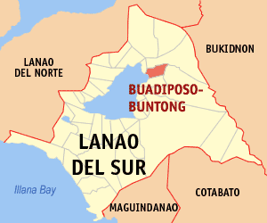 Map of Lanao del Sur showing the location of Buadiposo-buntong