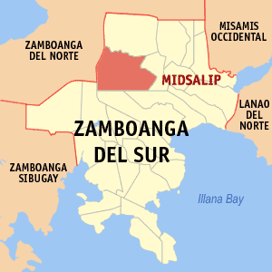 Map of Zamboanga del Sur showing the location of Midsalip