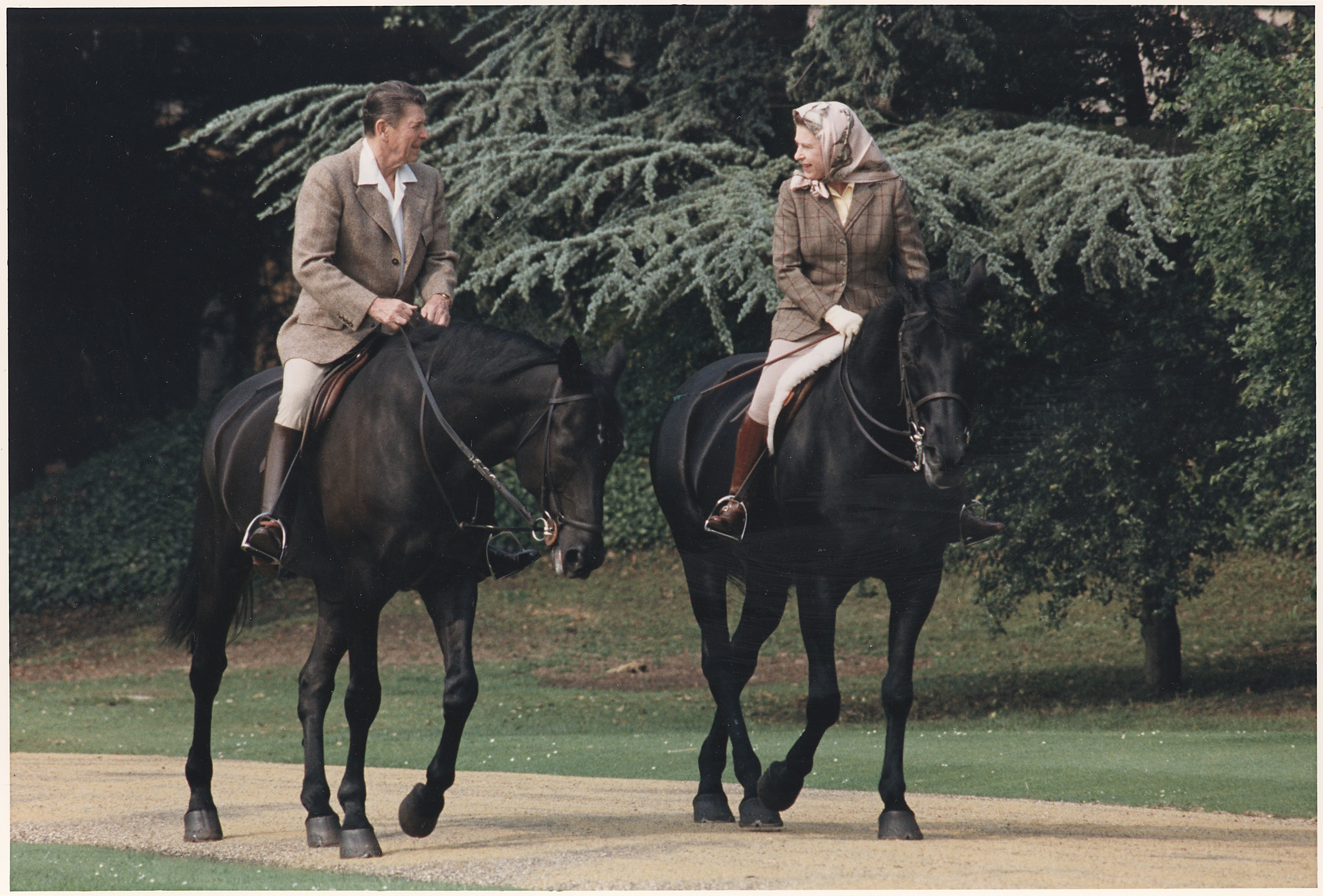 file photograph of president reagan and queen elizabeth ii