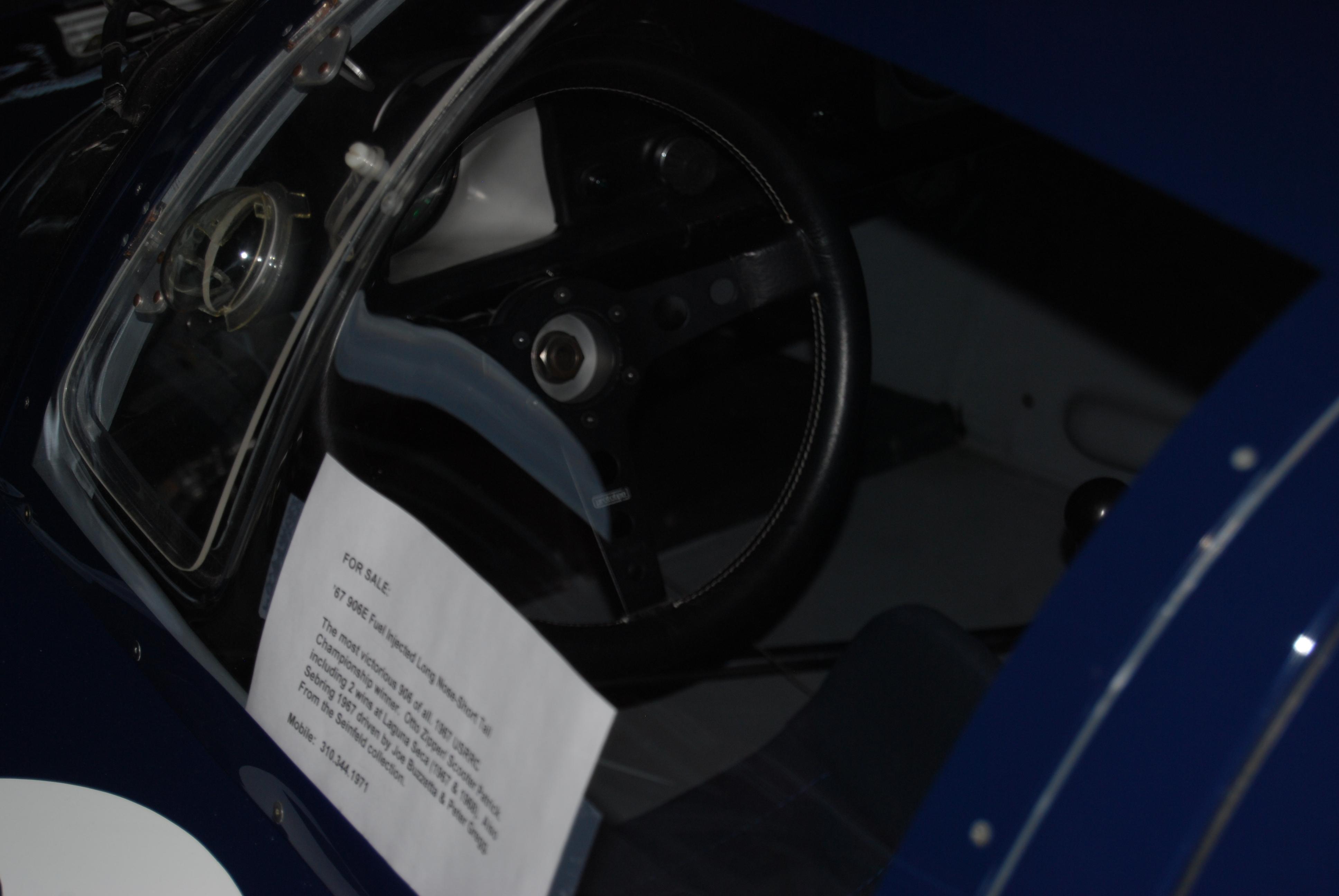 File:Porsche 906 Cockpit, tachometer, steering wheel, for
