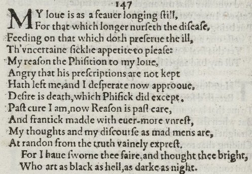 explanation of shakepeares sonnet 147