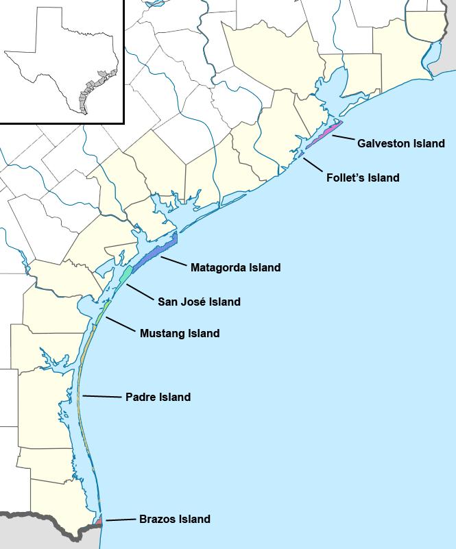 Texas Island Map Texas barrier islands   Wikipedia