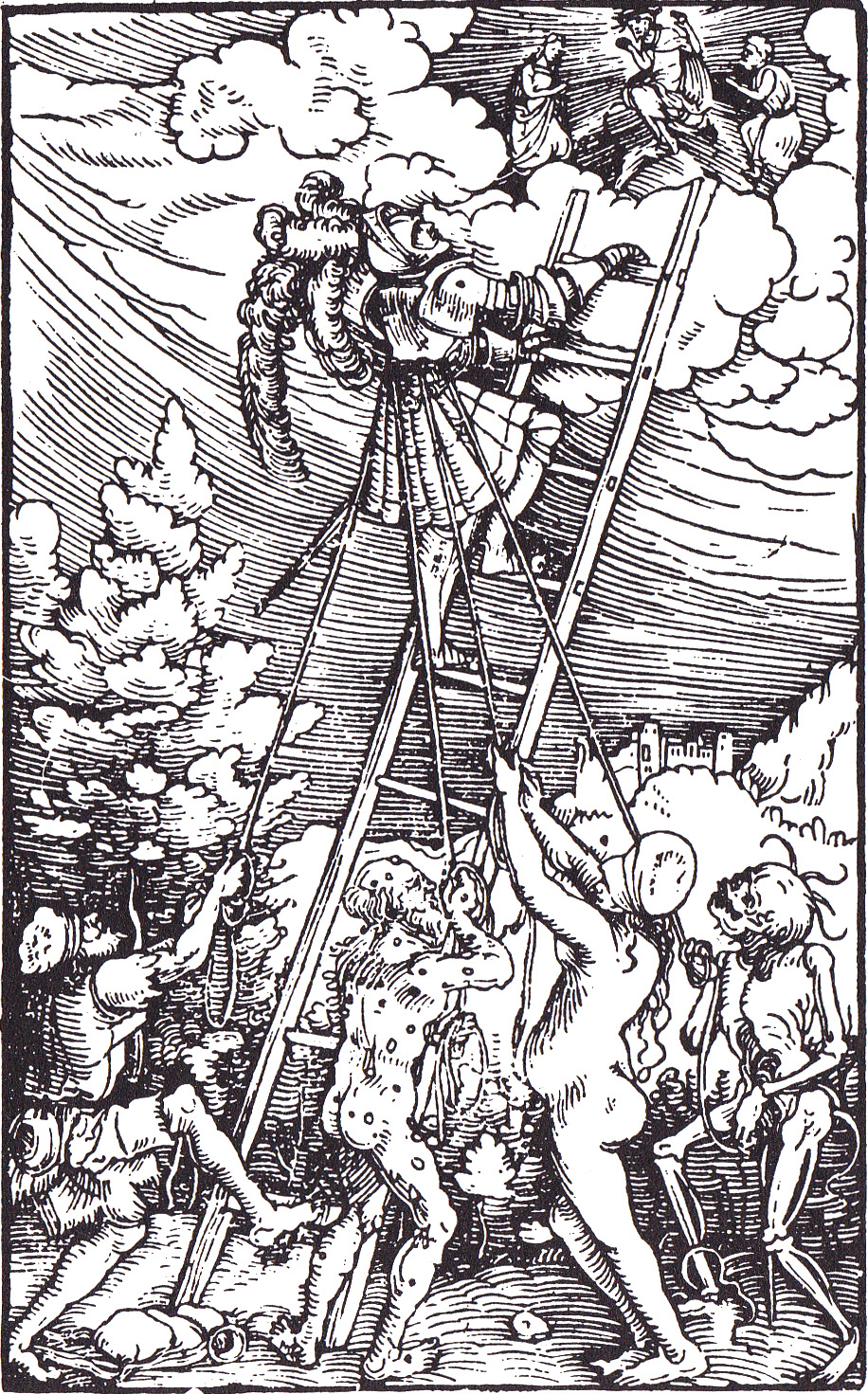 A woodcut of poverty, sickness, lust and death thwarting the ascension to heaven. Illustration from a 1531 edition of Cicero's De Officiis.
