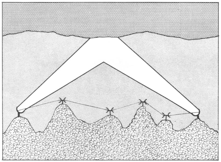 US army diagram of radio waves bouncing over a mountain range