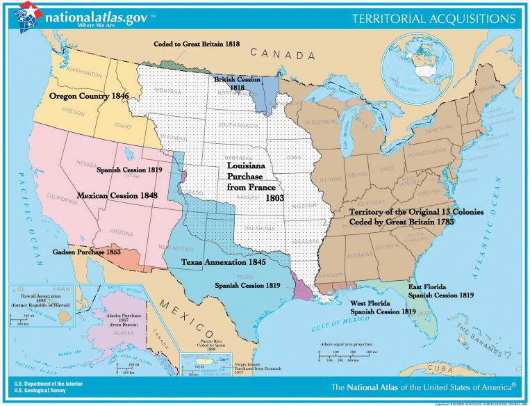 Die seit 1783 unabhängigen dreizehn Kolonien und die weitere territoriale Ausbreitung der Vereinigten Staaten in Richtung Westen