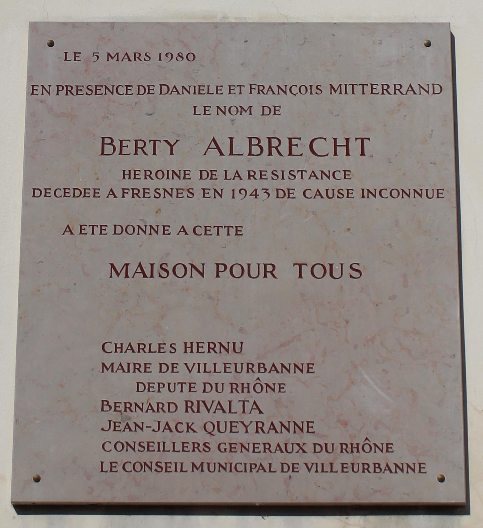 File:Villeurbanne   Plaque Maison Berty Albrecht.JPG