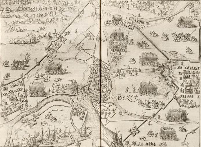 Vogelvlucht van de stad Rijnberk aan de Rijn met versterkingen - Siege of Rheinberg in 1597 by Maurice of Orange (Johannes Janssonius, 1651)
