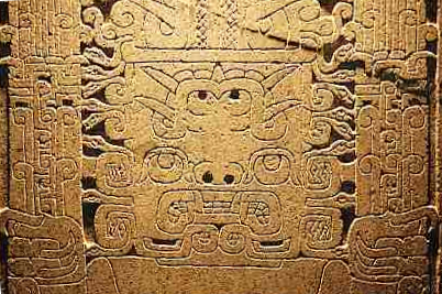 A detail of the Raimondi Stela. This stela was found out of its original placement at the ceremonial complex, Chavin de Huantar A detail of the Raimondi Stela.png