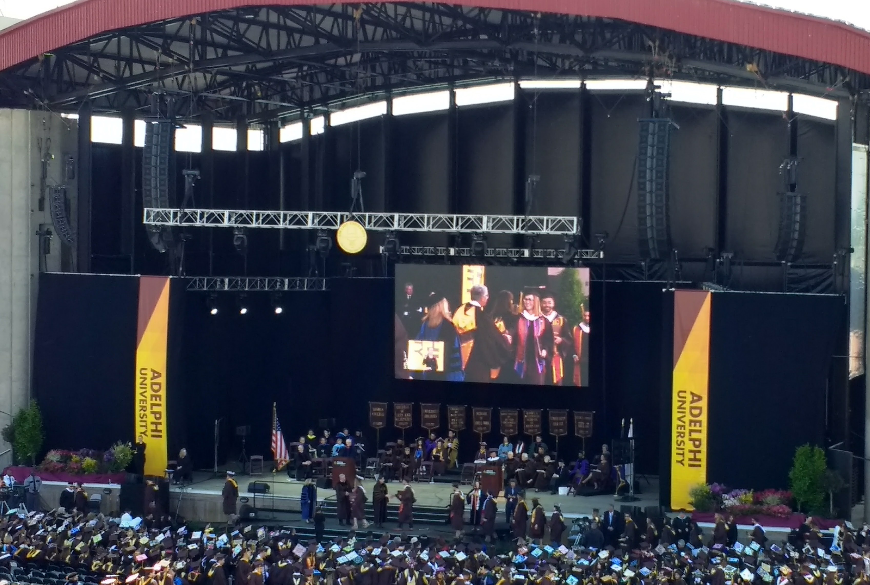 A The Adelphi University Graduation of 2017 held at the Jones Beach Theater.