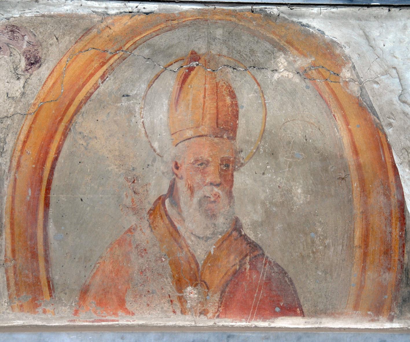 Ferdinand av Aragón, freske fra 1400-tallet i basilikaen San Ferdinando (tidligere Santa Maria di Cubulteria) i Alvignano, et eksempel på syntese mellom langobardisk og bysantinsk stil