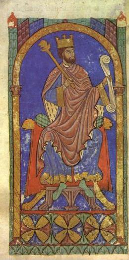 Alfonso VII según una miniatura del Tumbo A de la Catedral de Santiago de Compostela.