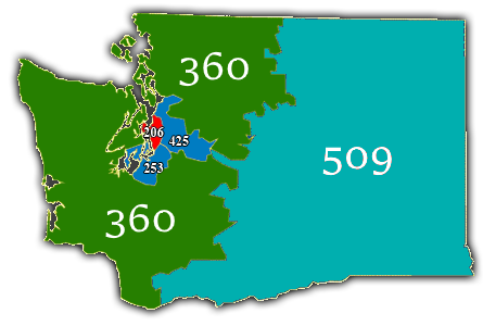 List of Washington area codes - Wikipedia Zip Code Map Seattle on
