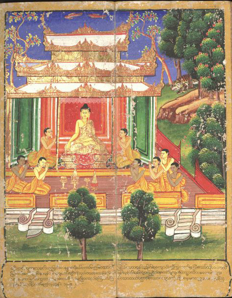 The image shows a colourful watercolour of Gautama Buddha sitting beneath a pagoda