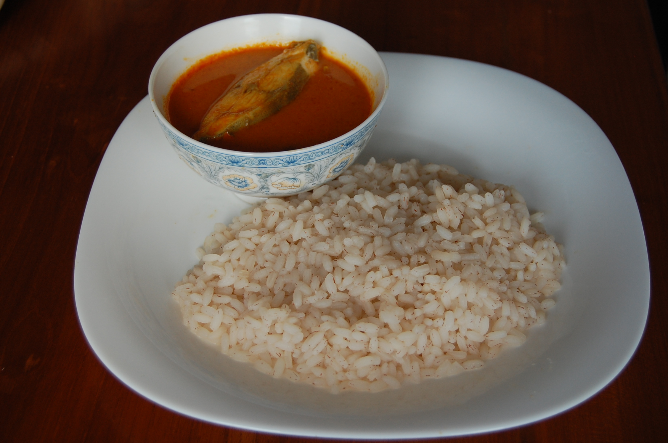 File Boiled Rice Fish Curry Jpg Wikimedia Commons