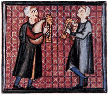 Miniatures from a manuscript of the Cantigas de Santa Maria Cantiga bagpipes 1.jpg