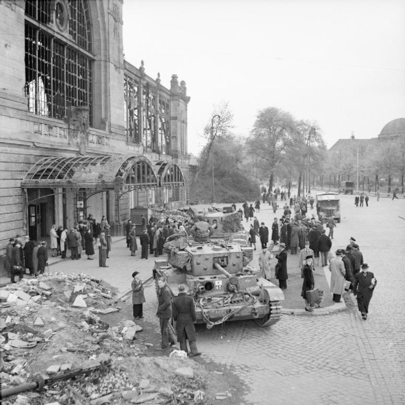 Tanks of 8th Hussars, 7th Armoured  Division outside Dammtor railway station in Hamburg