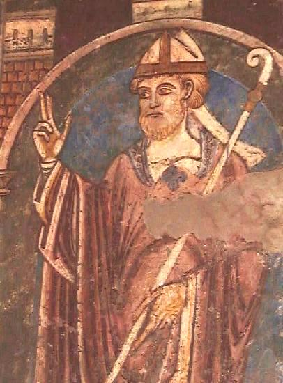 Veggmaleri av Cuthbert av Lindisfarne fra 1100-tallet i Durham Cathedral