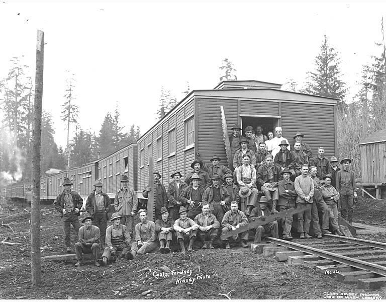 File:Falling crew and railroad logging camp, Coats-Fordney Lumber Company, ca 1917 (KINSEY 64).jpeg
