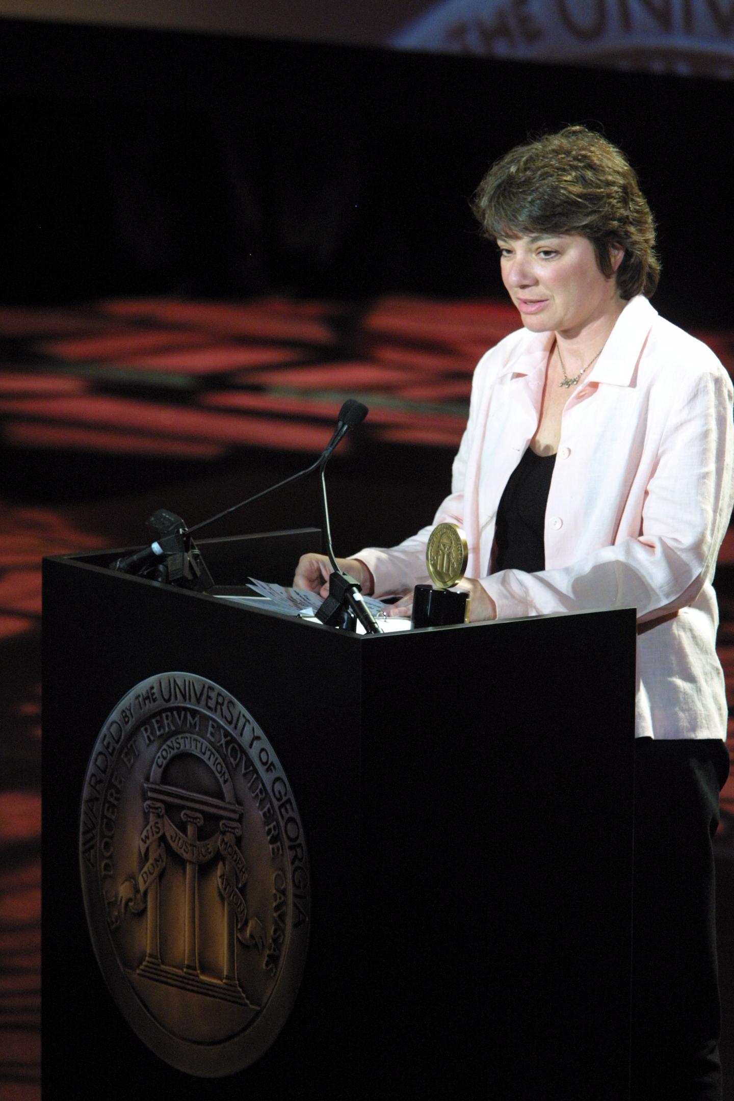 Karen Levine accepting the [[Peabody Award