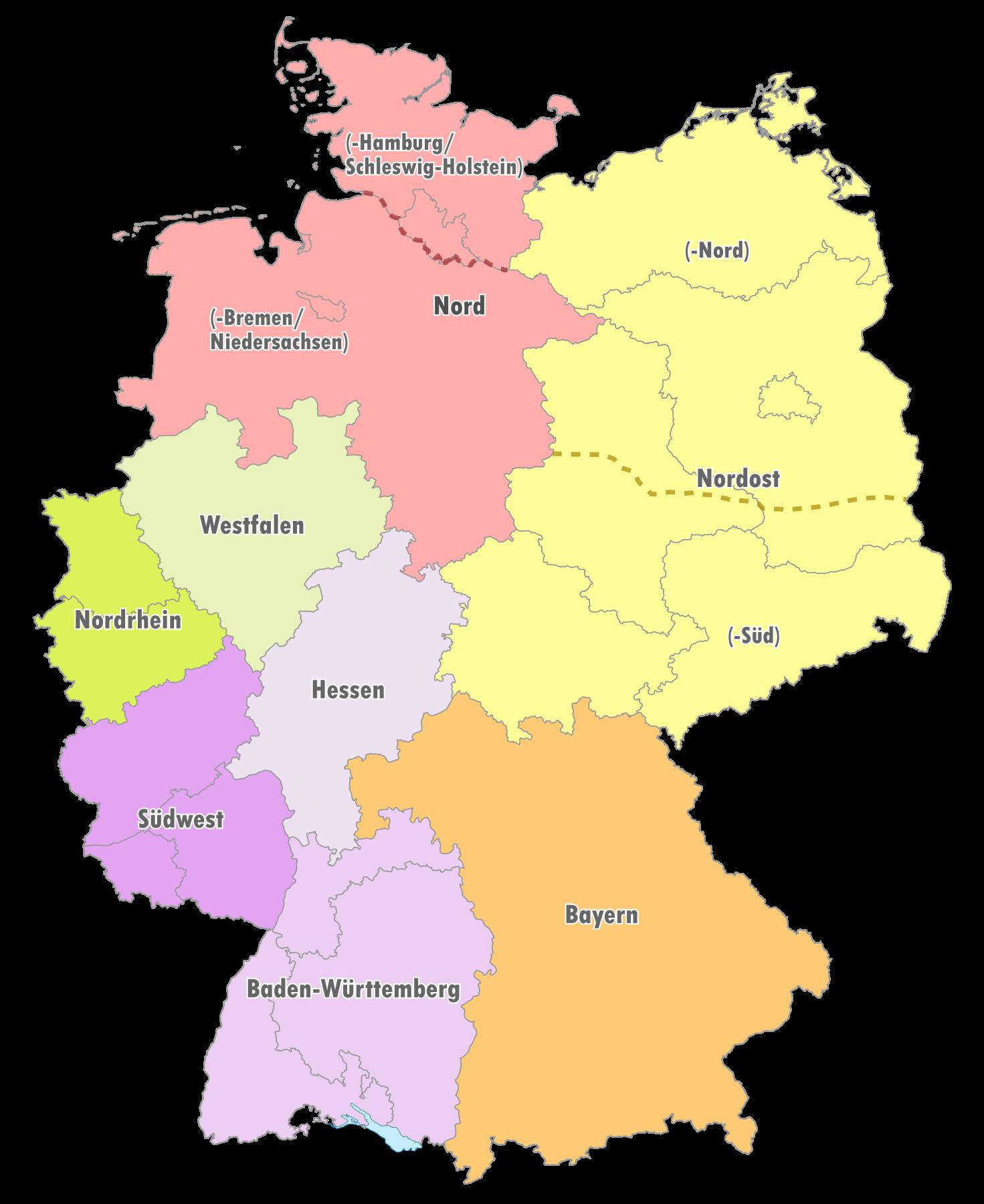 Geografische Einteilung der Oberligen zur Saison 1999/2000