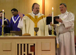 A Methodist minister celebrating the Eucharist