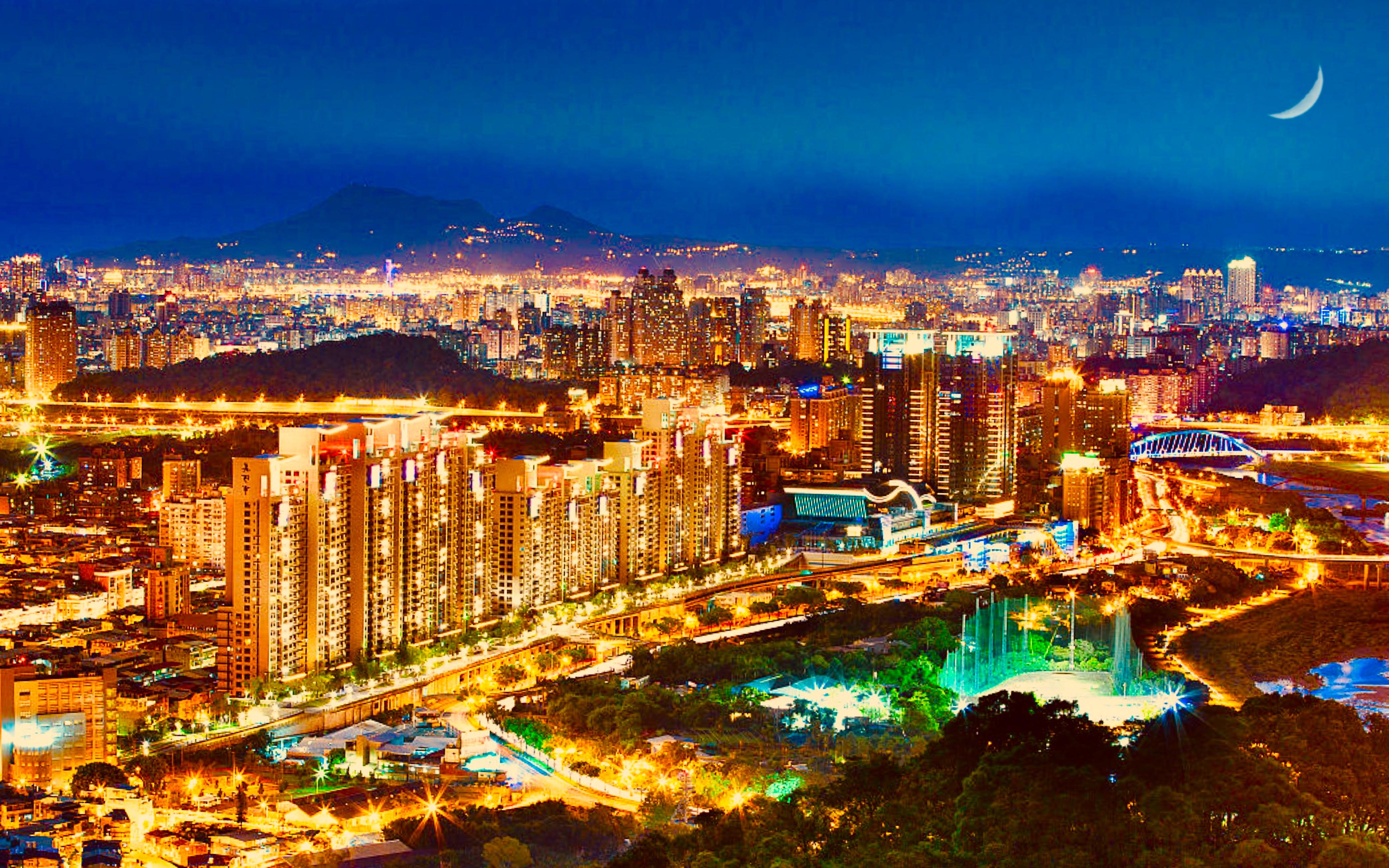 File New Taipei City Skyline Night View Landscape Jpg Wikimedia Commons