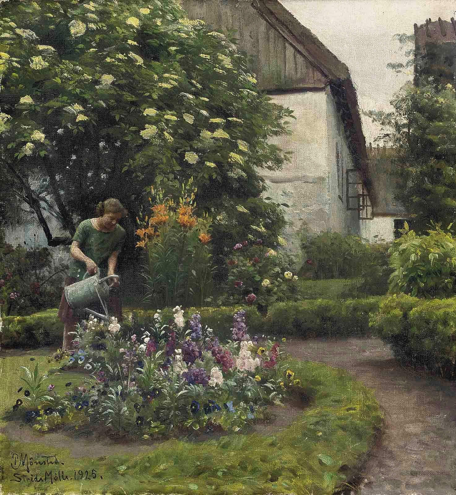 File Peder M 248 Nsted Watering The Garden Jpg Wikimedia