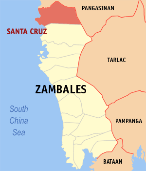 Map of Zambales showing the location of Santa Cruz
