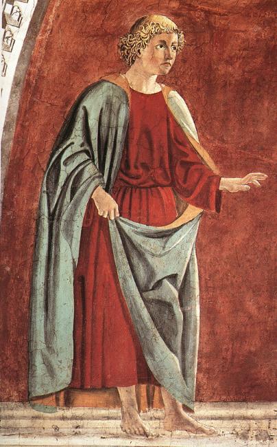 Piero della FrancescaeGiovanni da Piamonte, Profeta Ezechiele, 1452 circa, affresco, basilica di San Francesco,Arezzo