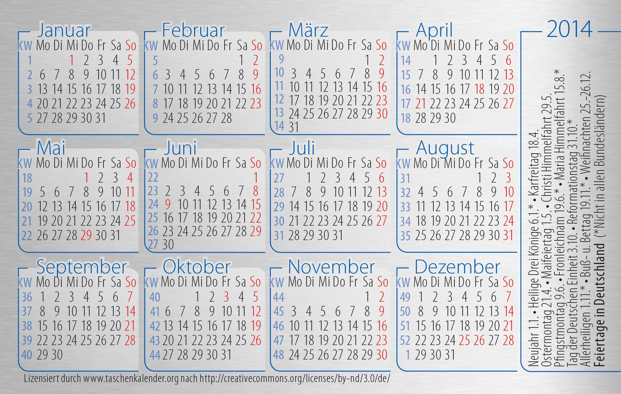 Kalender 2009 mit feiertagen