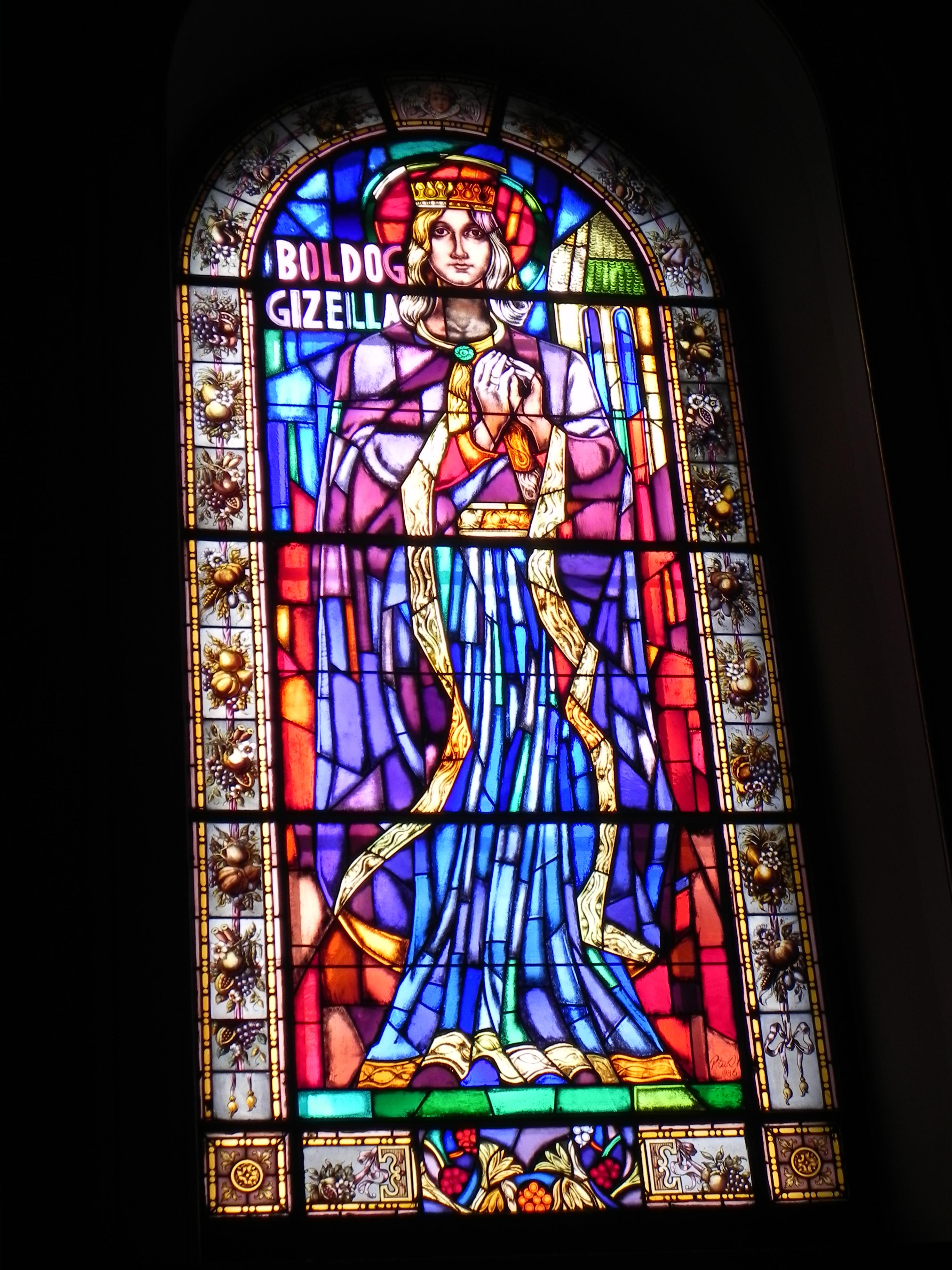 Glassmaleri av dronning Gisela i basilikaen St Stefan i Budapest