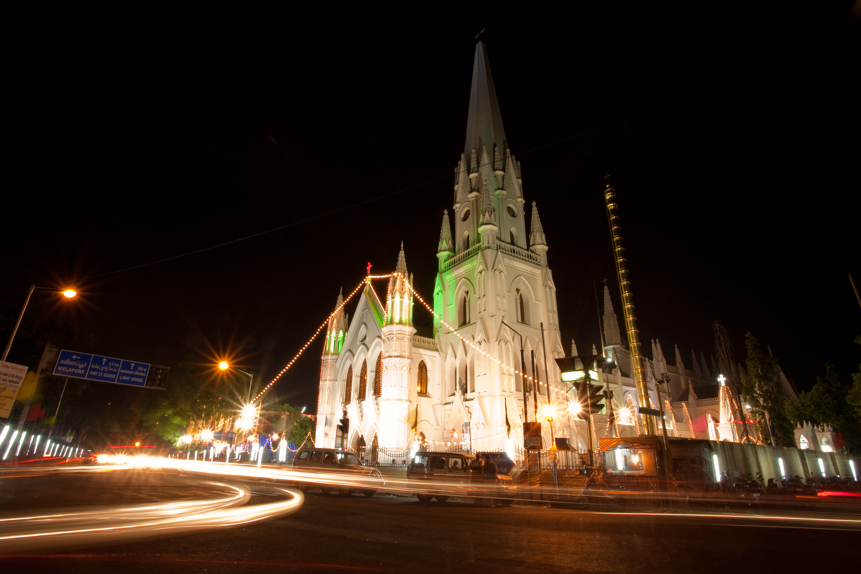 file santhome church by night merry christmas decoration december