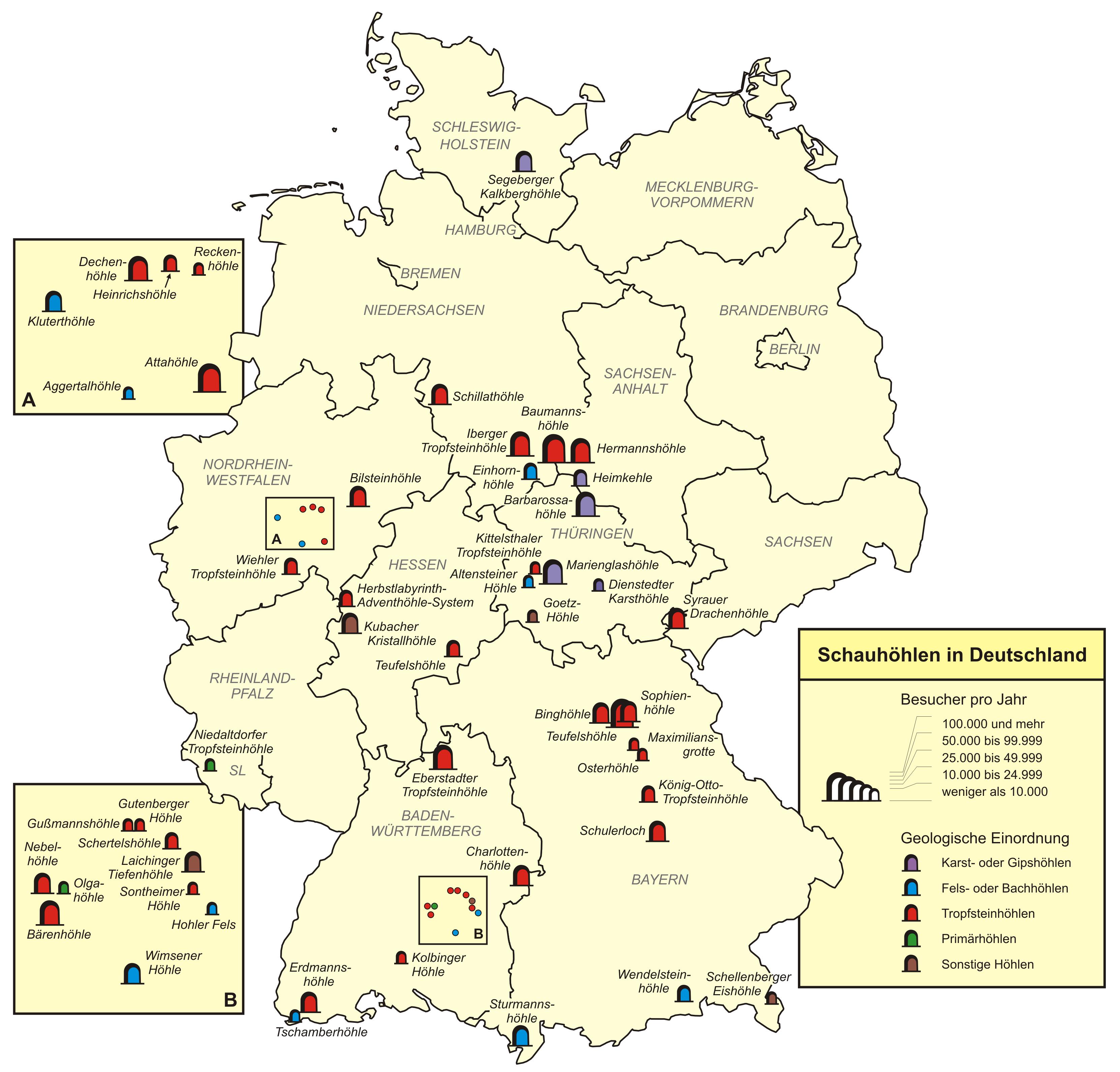 tropfsteinhöhlen in deutschland karte Liste der Schauhöhlen in Deutschland – Wikipedia